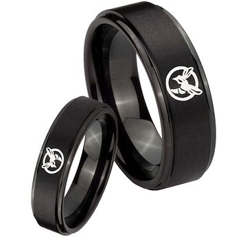 His Hers Step Edge Honey Bee Black Tungsten Carbide Wedding Rings Set