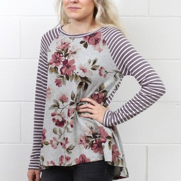 Mixing Florals with Stripes Long Sleeve {Grey Mix}