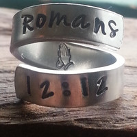 romans 12:12  Be joyful in hope, patient in affliction, faithful in prayer. praying hands inside spiral hand stamped