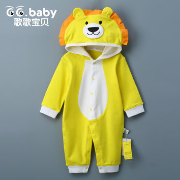 Newborn Baby Rompers Clothes Cotton Ears Hooded Suits Infant Jumpsuit Outwear Animal Lion Baby Boys Girls Jumpsuit Clothing
