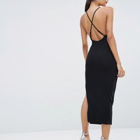 ASOS Halter Strappy Back Midi Dress at asos.com