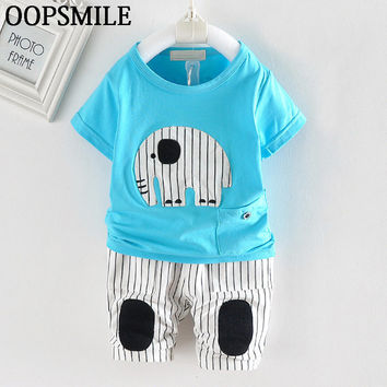 2017 New style summer baby boys clothing sets cartoon Elephant t-shirt+Striped short pants baby girls clothes newborn 2pcs suit