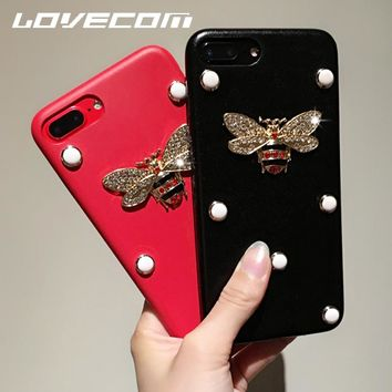 LOVECOM New Fashion For iPhone X 7 8 Plus 6 6S Plus Kawaii DIY Bling Glitter Exquisite Crystal Bee Soft Leather Phone Cases