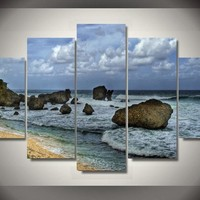 Shipwrecked Island 5-Piece Wall Art Canvas