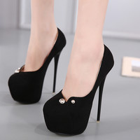 Charming Metal Rivet Stiletto Heel High Platform Heels