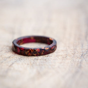 Thin Marsala Resin Ring Stacking Ring Copper Gold Flakes Small Faceted Skinny Ring OOAK Deep Purple geometric jewelry