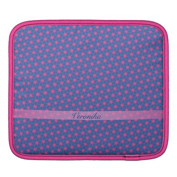 Pink stars on a blue background. Add name. Sleeve For iPads