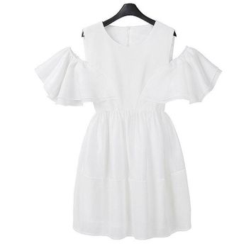 Hot Sale Vestido Branco High Quality Short Petal Sleeves White Dress Off Shoulder Summer Ladies Back Zipperfly Plus Size Dress