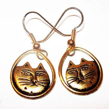 "Laurel Burch Cat Face Earrings Gold Metal French Wire Hooks Pierced Ears 1 1/2"" Vintage"
