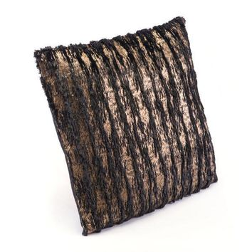 A11092 Metallic Waves Pillow Black & Gold
