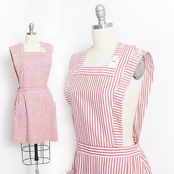 Vintage 1960s Candy Striper Uniform - Pinafore Red White Stripe Hospital Dress - Large