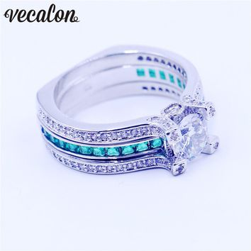 Vecalon Female Birthstone Jewelry Engagement ring Green AAAAA Zircon cz White gold filled wedding Band ring Set for women
