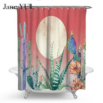 JaneYU 10 Colors Cacti style Window Passionate Cactus Plants Shower Curtain Multi Sizes Bathroom Curtain Decor Free