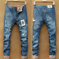 Mens Cool Worn and Patch Jeans