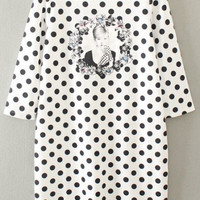 Boat Neck Half Sleeve Polka Dot&Character Print Dress