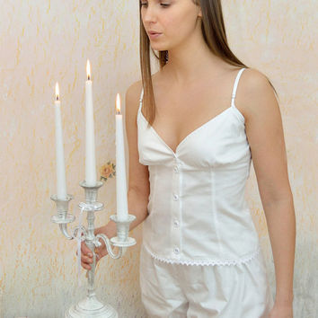 Collette Du Bois - Vintage inspired Victorian white cotton pajamas/pyjamas, undies, Victorian drawers, vest, knickers