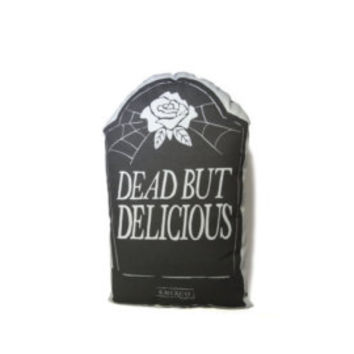 Dead But Delicious - Valentines Gravestone - Handmade Plush Throw Pillow - Horror Inspired Home Decor