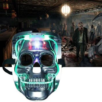 Silver Light Up LED Skeleton Skull Rave Mask  Cosplay Costume Party