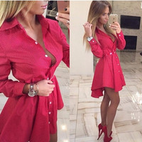 2016 New Women Autumn Fashion Small Dots Printed Shirt Dress Fall Casual Long Sleeve Sexy Mini Party Dresses plus size clothing