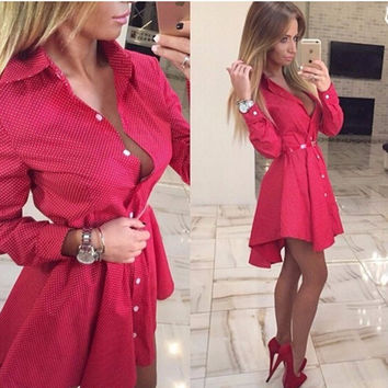 2016 New Autumn Winter Fashion Women Shirt Dress Fall Small Dots Printed Casual Lrregular Long Sleeve Mini Dresses