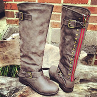 Paint The Town Red Taupe Riding Boot