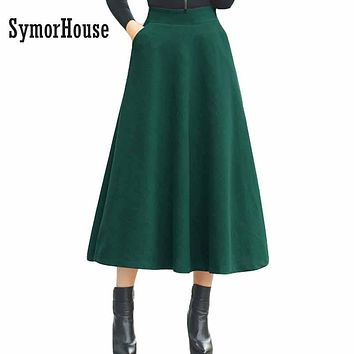 New Winter Skirt Autumn Fashion Women's Long Woolen Skirts A-line Wool Skirts 6 Colors Solid Pockets Casual Big Swing Skirts