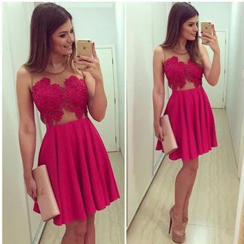 Mosaic Hot Sale Red Christmas V-neck Lace One Piece Dress = 4806549380