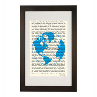 Science art - Cosmology - Carl Sagan Pale Blue Dot inspirational quote poster typography print (from US Letter and A4 up to A0 size)