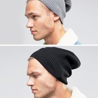 ASOS Slouchy Beanie 2 Pack In Black And Grey SAVE 20% at asos.com
