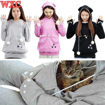 Cat Pocket Hoodies Pet Lovers Sweatshirt With Cuddle Pouch Puppy Kitten Little Animals Pouch Carriers Pullover With Ears WXC
