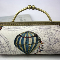 Clutch Purse - Hot Air Balloon Clutch Bag w/ Card Pockets - Japanese Cotton Fabric with Metal Frame & Bag Belt / Bag Chain