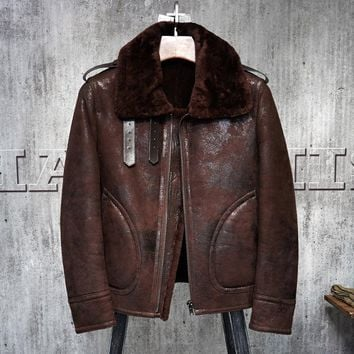 Men's Shearling Leather Jacket Red Brown Color Flying Jacket  Men's Fur Coat Pilots Coat 011