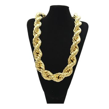 34mm Thick  80cm length Big Twisted Singapore Chain Necklace High Quality Hip Hop Style Men's Necklace Jewelry