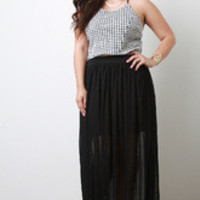 Women's Goddess Sheer Maxi Skirt in Plus Sizes -  Size 3X
