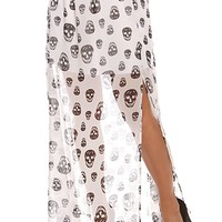 BLACK AND WHITE SKULL PRINT SHEER CHIFFON MAXI SKIRT
