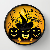 Happy Halloween Pumpkins Silhouette  Wall Clock by DaddyDan360