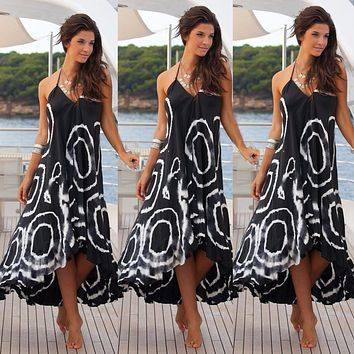 Women Sexy Summer Halter String Strappy Off Shoulder V Neck Dress Boho Maxi Long  Beach Dress square Printing Chic Dress