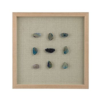 Blue Agate Gems Shadow Box