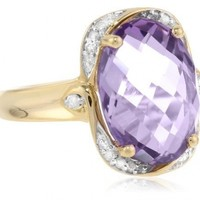 Yellow Gold Plated Sterling Silver Amethyst and Diamond Accent Oval Ring Size 7