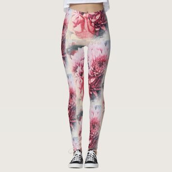 Awesome Pink Rose Chrysanthemum Flowers Leggings
