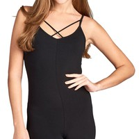 Active Crisscross Cami Strap Bodycon Romper