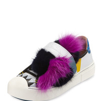 Bugs Leather Fur Monster Sneaker, Pink