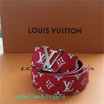 100% Authentic Louis Vuitton Supreme X Red Monogram Belt Size 95/38