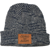 Oceans Ate Alaska Men's Stamped Leather Logo Beanie Blue