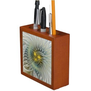 Golden Flower Fantasy, abstract Fractal Art Desk Organizer