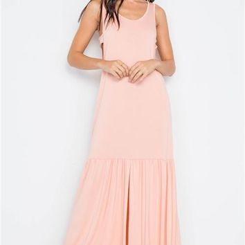 Shirred Hem Maxi Dress | Pink