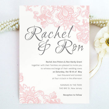 Pink Lace Wedding Invitation - Blush pink and grey - Modern, script, lace invitation printed on luxury pearlescent paper