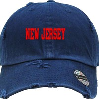 New jersey Distressed Baseball Hat