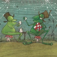 Afternoon Tea Frogs 85 x 11 Print by gigistudio on Etsy