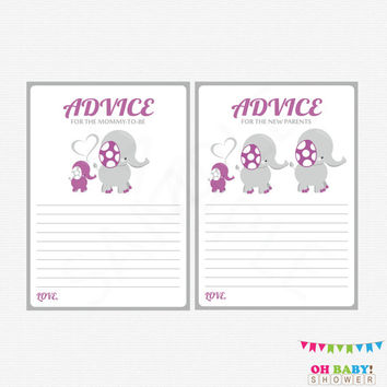 Elephant Baby Shower, Advice for Mommy To Be, Purple Gray Elephant Baby Shower Girl, Advice for New Parents, Elephant Baby Shower Games ELPG
